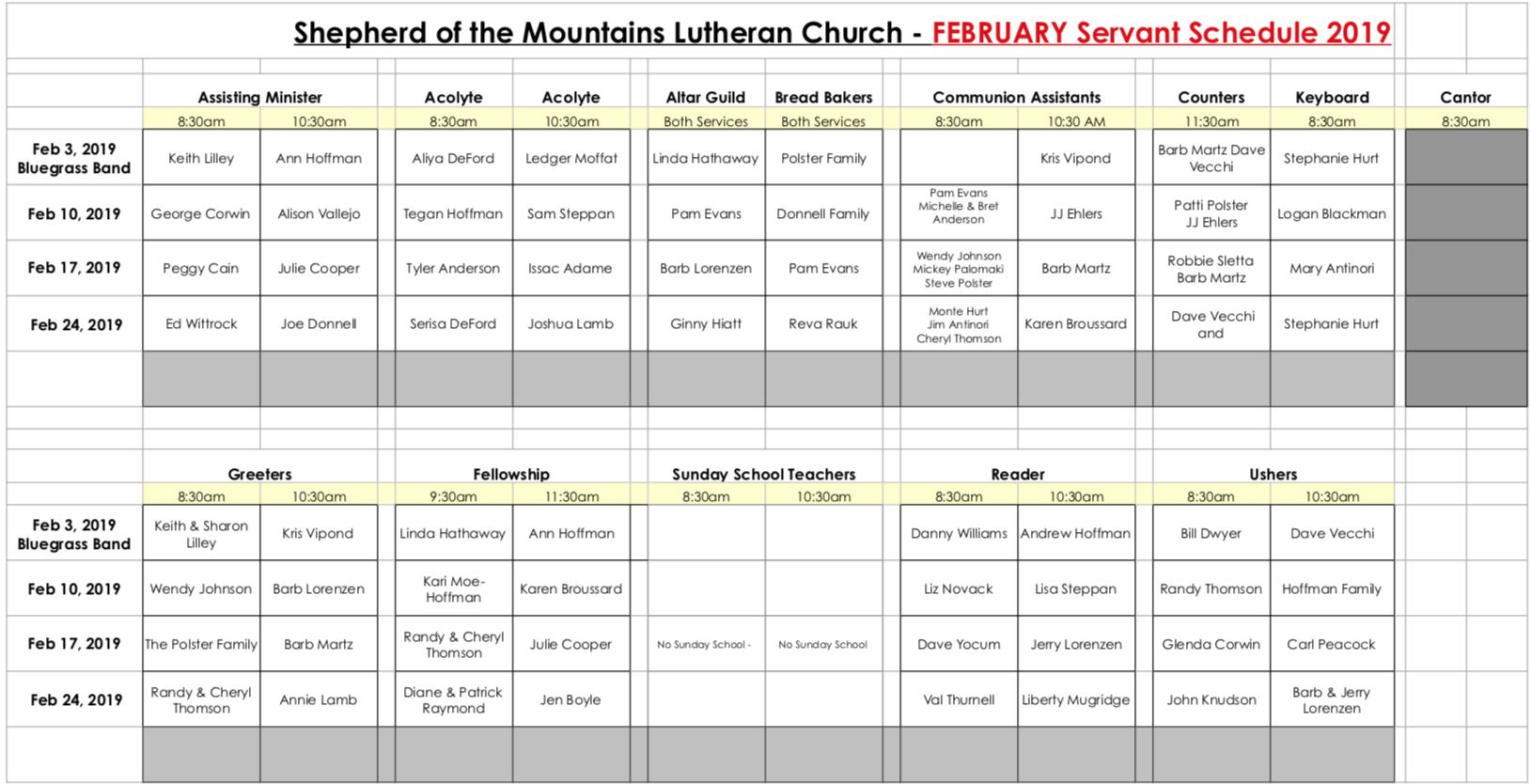 Feb-Servant-Schedule