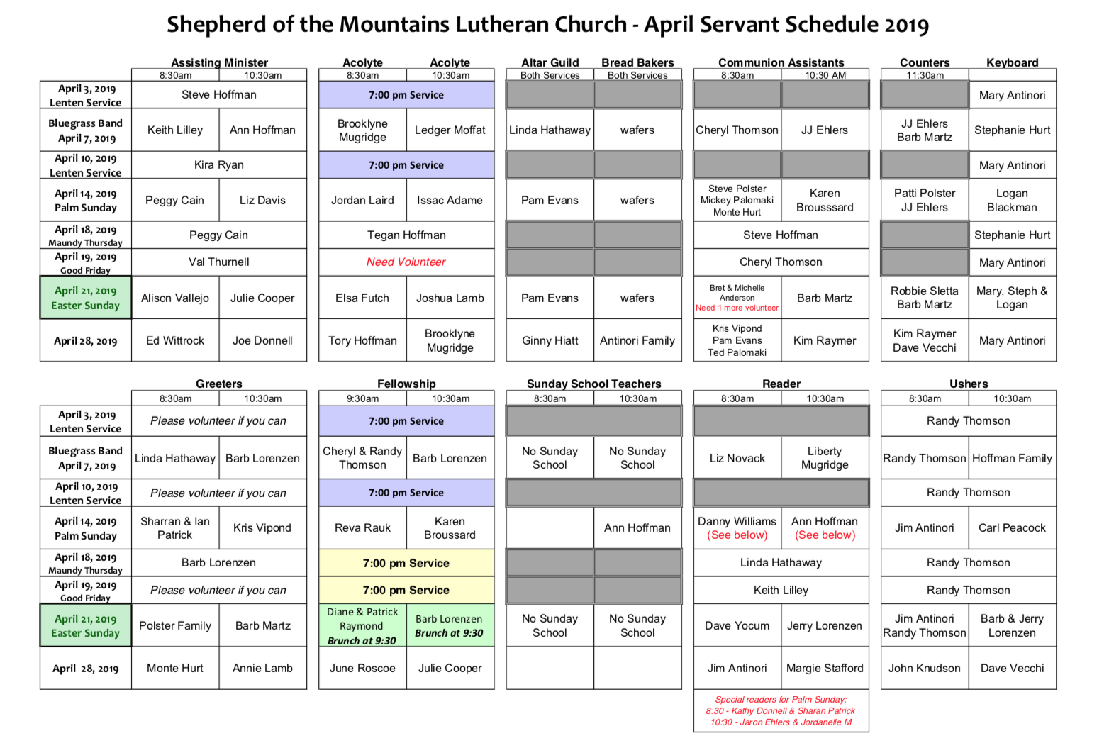April Servant Schedule_2019